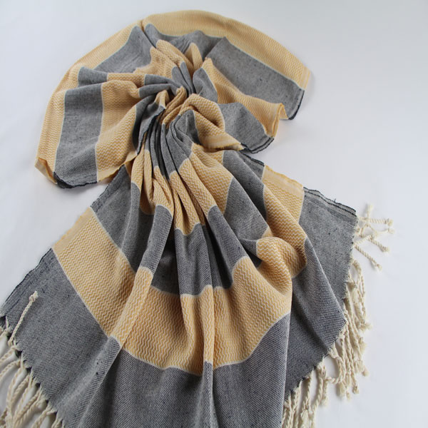 Yellow and Grey Bahama Hand Made Fouta Towel 100 % Cotton Made in Turkey