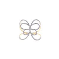 14K Yellow Gold Ring Pave Diamond Gold Fine Jewelry Designer Butterfly Ring Women's Diamond Jewelry Manufacturer