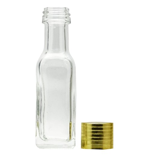 Refillable Wholesale Empty Tequila Bottles Clear Glass Miniature Empty Bottles For Tequila Shot With Golden Cap 20 ml BOT185A