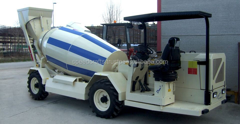 Self Loading mobile concrete mixer for road maintenance