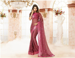 Deep Salmon color with Pink shiny Zari double border Socialites Designer Sarees