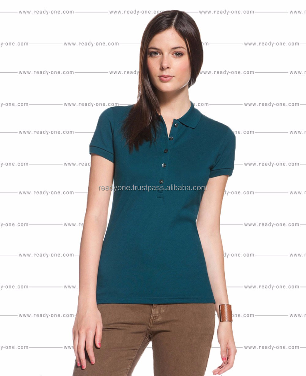 Ladies slim Fit custom design Dry fit polo shirts with contrast placket/Hot selling polo shirts