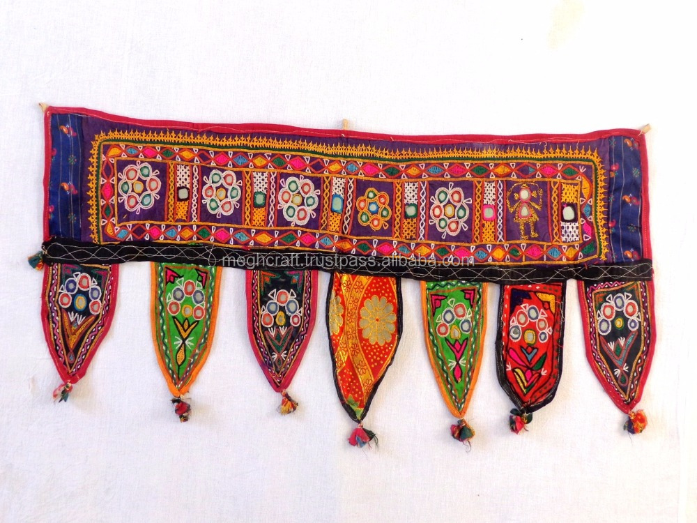Wholesale Banjara Style Home decor toran-Vintage Kutch Embroidered Valance/Traditional Mirror Work Toran/Door Topper