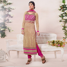 Beige Net & velvet Embroidered Party Ware Semi-Stitched Salwar Suit-.
