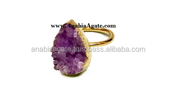 Agate Druzy Finger Rings : Druzy Ring, Amethyst Natural Stalactite jewelry