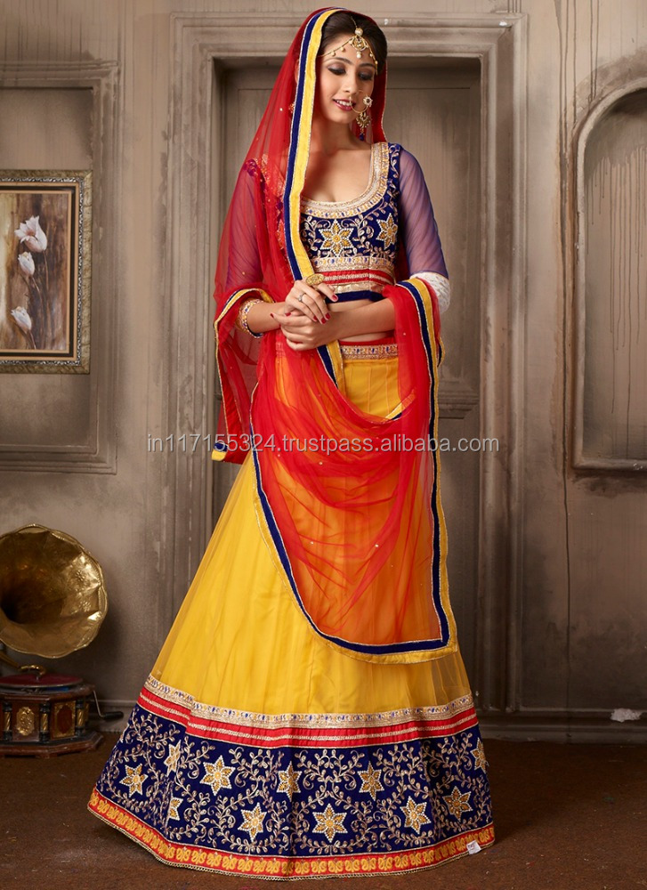 Traditional lehenga choli online shopping - Ready made lehenga choli - Net embroidery work designer lehenga choli