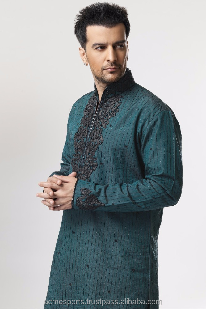 mens kurta - Men's embroidered salwar kameez