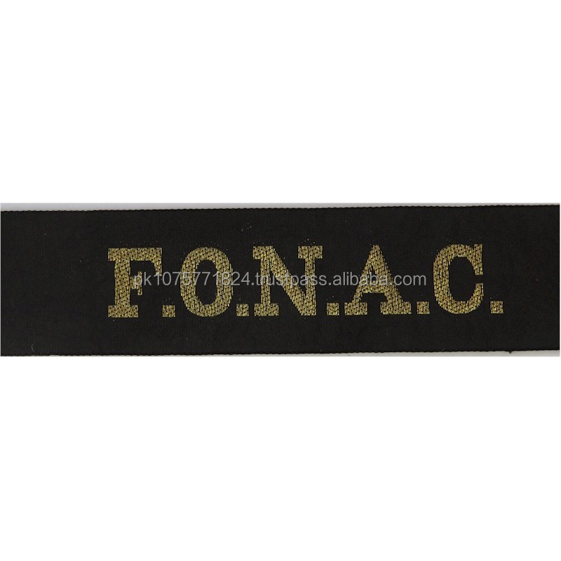WOVEN BADGES F.O.N.A.C. (Flag Officer Naval Air Command) Cap-Tally Woven Naval cap badge or cap tally