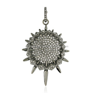 925 Sterling Silver Diamond Designer Pendant Pave Jewelry