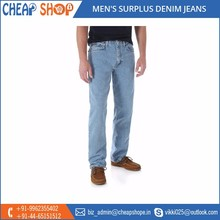 High Quality Straight Fit Surplus Denim Jeans for Bulk Export