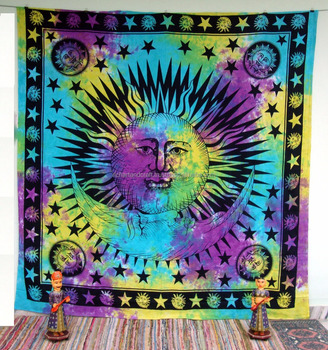 Tapestry Wall Hanging Sun and Moon Star Mandala Bedspread Ethnic Throw Art Indian Gift