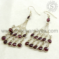 Indian Wholesaler New Design Fashion Earring 925 Sterling Silver Garnet Handmade Jewelry