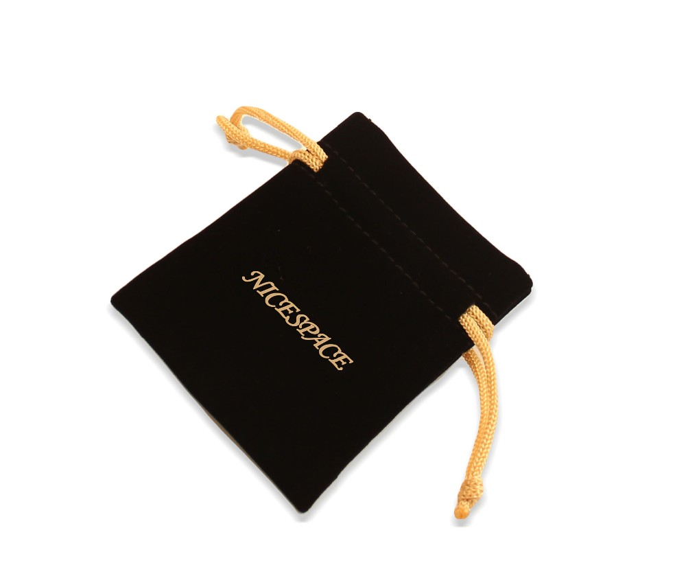 Mini Velvet Drawstring Storage Gift Bag with Gold Logo