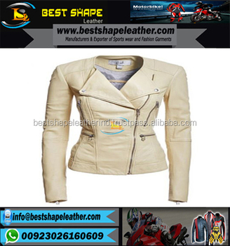 Ladies Fashion Leather Jackets grey Color