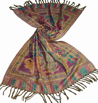 woollen scarf Pure merino wool with intricate paisley patterns in long length