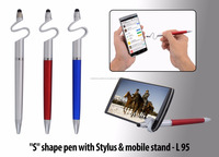 S shape pen with mobile holder and stylus