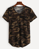 V-Neck Camo mens custom made popular street leisure wear stylish full body sublimated T-Shirts with pocket