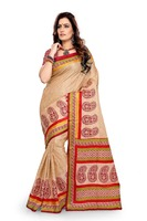 Beige Cotton Printed Saree With Unstitched Blouse-sarees