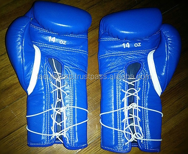 Boxing Hybrid Lace Up/Velcro Gloves Synthetic / Genuine Leather Boxing Gloves Size FS-01-110
