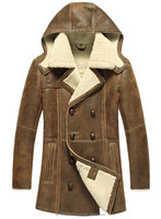 Men's Designer Hooded Sheepskin Shearling Leather Fur Coat