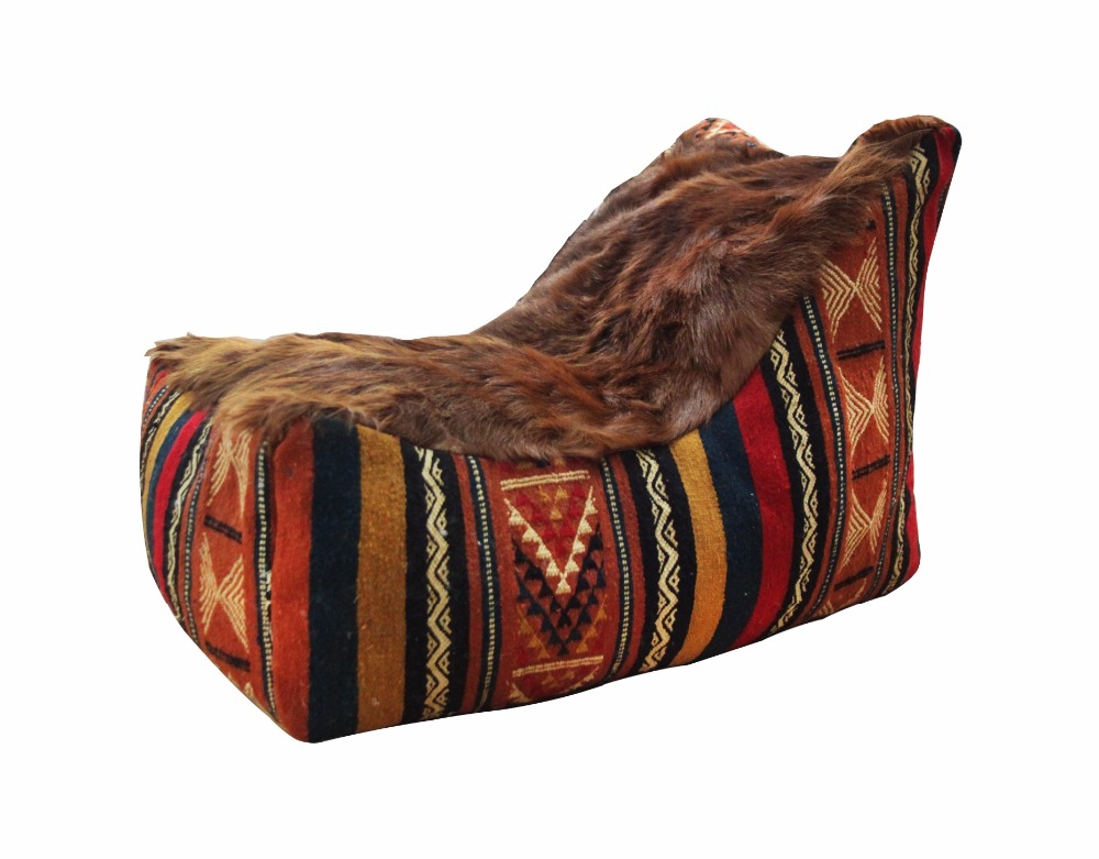 BEANBAG DUC With klim wool and natural brown goatskin in seat
