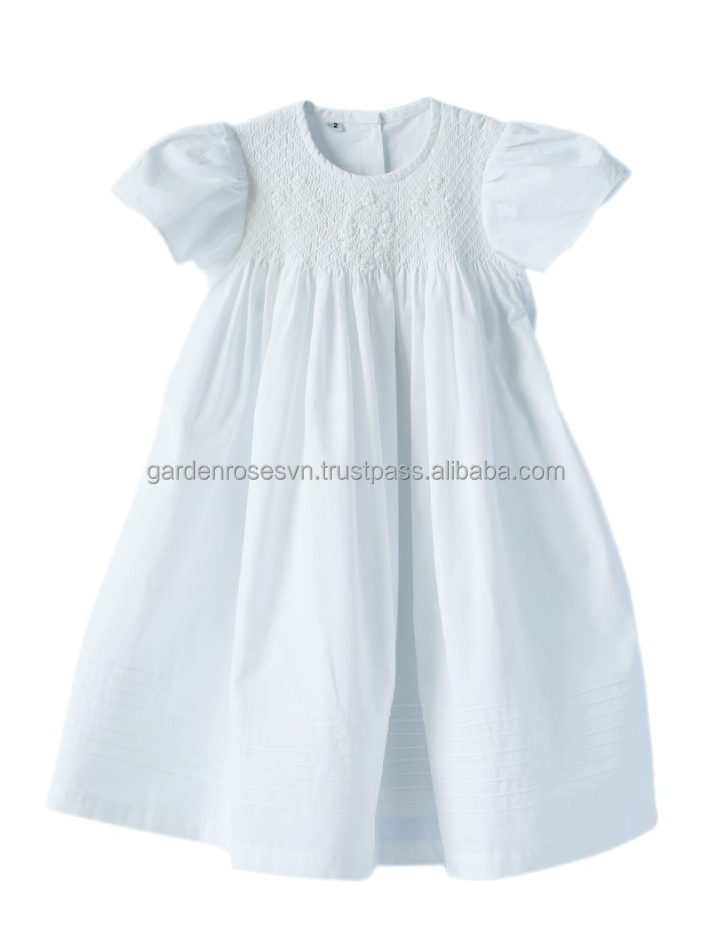 Christening hand smocked children girl dress 100% cotton