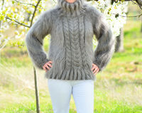 New popular decor look 80% MOHAIR Hand Knitted Sweater Jumper stone gray cable knit Handmade New top sale.