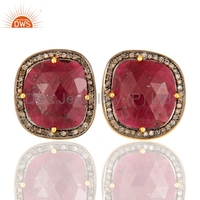 Pave Diamond Studs Earring JewelryHot Latest Model Ruby Diamond Earring