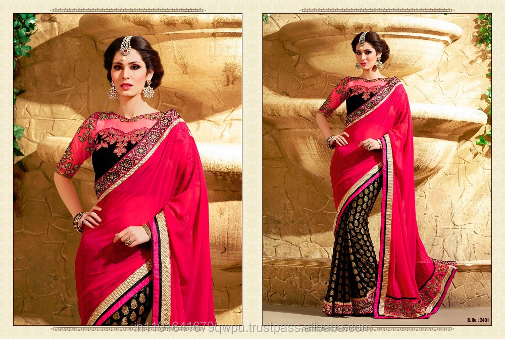 Party Wear Wedding Wear Georgette Jacquard Viscose Fabric Of Fancy Designer Saree With Net Embroidered Blouse