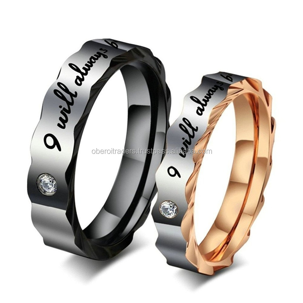 Riwaz Boutique silver Stainless Steel C Couple Ring For Men & Women