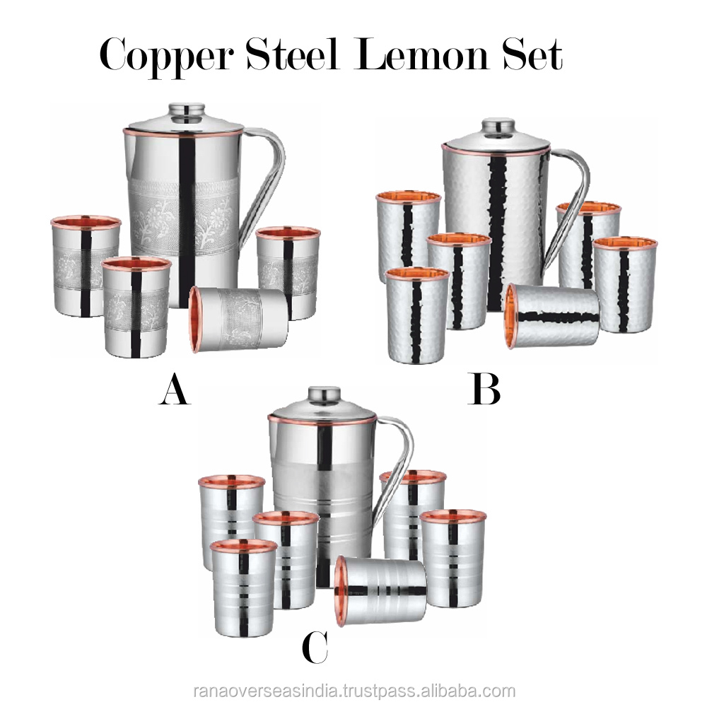 Stainless Steel Copper Jugs With Glass Tumbler Set - Plain, hammerred and Embossed - Copper Inside, Steel Outside