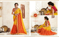 indian saree Pink & Orange bollywood style.