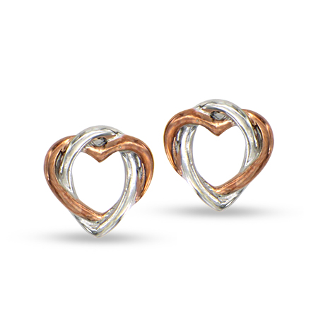 2 Tone silver & rose gold color Sweethearts Interlocking Earrings