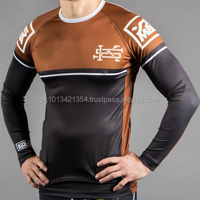 Long Arms Brown Design Sublimation MMA Rash Guard