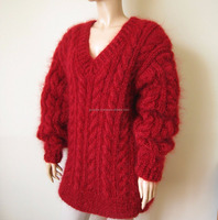 New Hand Knitted Mohair Thick Sweater size XL RED/New modern design royal color choice large size cheap rate women sweater