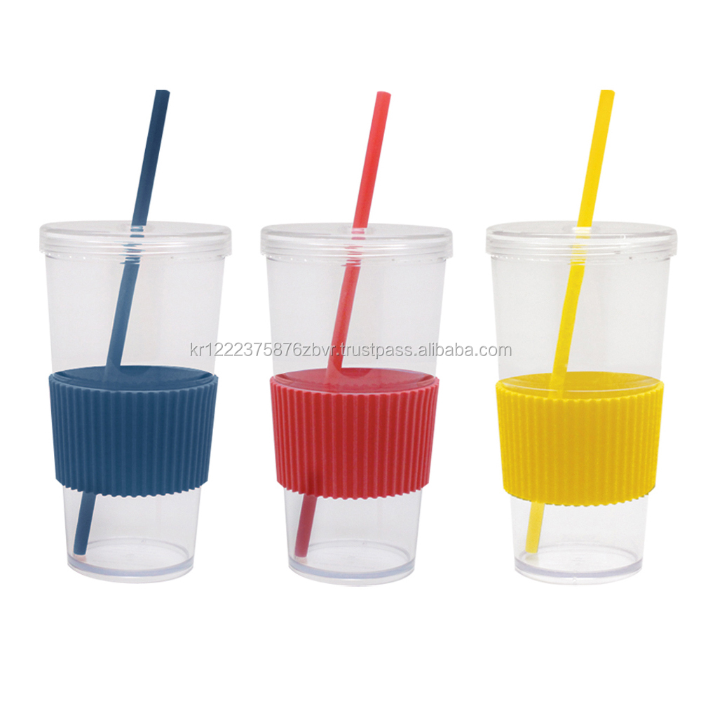 TEASCAFE AS plastic Ice Tumbler with rubber sleeve & reusable 1 straw / 24oz(700ml) / Custom logo design