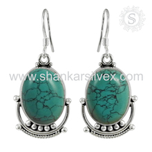 Fantabulous turquoise gemstone silver earring 925 sterling silver jewelry indian silver jewelry exporters wholesale