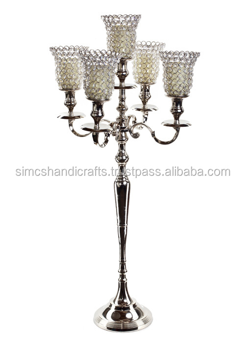 Silver 5 Arm Light Crystal Hurricane Globe Candelabras Votive Candle Holders For Wedding Centerpieces