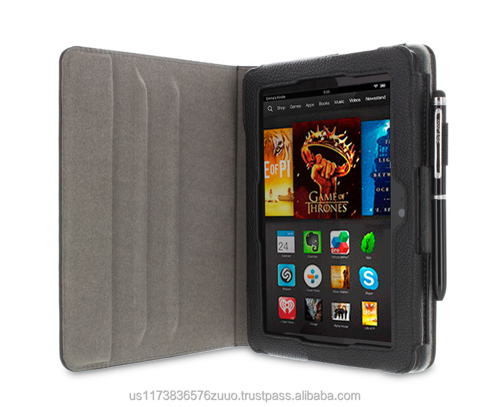 Dual View Slim Fit PU Leather Folio case cover detachable inner sleeve for Kindle Fire HD 7 (3rd Gen, 2013) roocase (Black)