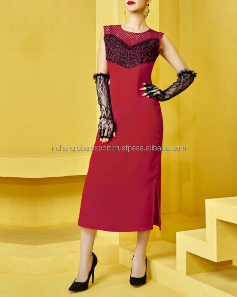 Latest red faux georgette dress with resham embroidery work readymade indo western dress