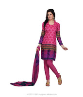 Indian Designer Net Brasso Pink Printed Salwar Kameez Dress Material