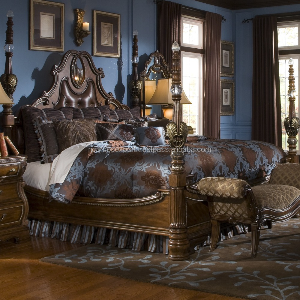 Royal bedroom furniture King queen size wedding bed wooden four poster bed