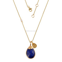 14K Gold Pendant with Chain in Lapis Lazuli Gold Jewelry Pendant Designs