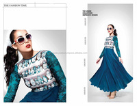 Print Work Georgette Blue Anarkali Salwar Kameez At Wholesale Rates