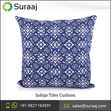 2016 Latest Collection Indigo Tiles Cushion from Wholesale Supplier