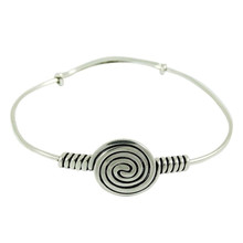 Spiral Design Upper Arm Cuff Bracelet Jewelry Silver Tone Indian Ethnic Jewelry - ARM335