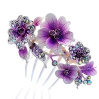 Decorative Hair Combs Zinc Alloy Flower painted with rhinestone & colorful powder mixed colors nickel lead & cadmium free 80x85