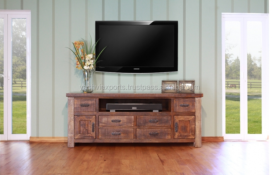 Solid Wooden TV Console with rustic Finish