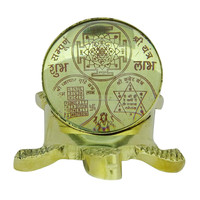 Sampoorna Shri Yantra Kuber Vyapar Brass Energize Shree Yantra On Tortoise CD20A