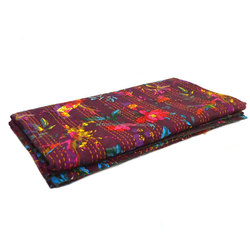 Bird of Paradise QUEEN KANTHA quilted throw in MAUVE SKU 9128